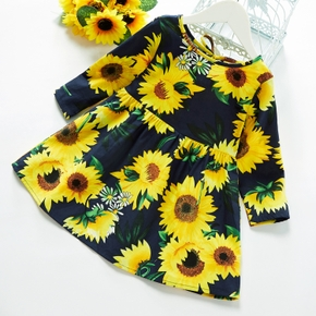 Baby / Toddler Girl Sunflower Print Bowknot Long-sleeve Dress