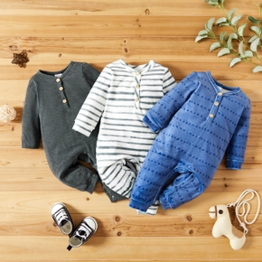 Baby Boy Solid/ Stripes Print Fleece Long-sleeve Jumpsuit One-Piece Coverall