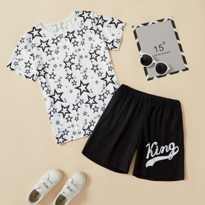 Fashionable Kid Boy Short-sleeve Stars Letter Print Shorts Suits