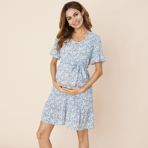 Nursing casual Floral Print V-neck Short-sleeve Nursing Dress