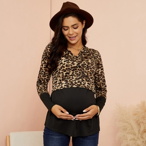 Trendy Leopard Print Long-sleeve Nursing Top