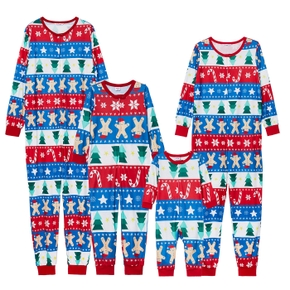 Family Matching Christmas Tree Gingerbread Man Print Onesies Pajamas (Flame Resistant)