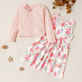2-piece Kid Girl Bowknot Decor Button Knitted Cardigan and Unicorn Floral Print Sleeveless Dress Set