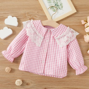 Baby Girl casual Plaid Shirt Flounced Collar Long-sleeve Cotton Lace Smock