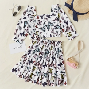 2-piece Kid Girl Square Neck Ruffled Butterfly Print Top and Skirt Set