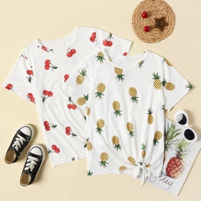 Pretty Kid Girl Pineapple Cherry Fruit Food Bowknot T-shirt