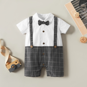 Baby Boy elegant Plaid Costumes Formal Tuxedos Short-sleeve Baby Clothes Cotton Jumpsuit