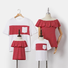 Stripe Series Family Matching Tops(Red Off Shoulder Tops for Mommy and Girl ; Short Sleeve T-shirts for Dad and Boy)