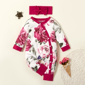 2pcs Floral Allover Long-sleeve Red Baby Set