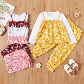 2-piece Toddler Girl Floral Print Fake Two Piece Long-sleeve Top and Pants Set