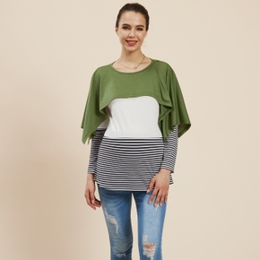 Maternity casual Color Block Stripes Print Round collar long sleeve T-shirt