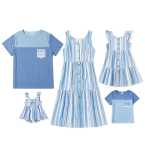 Mosaic Stripe and Color Block Family Matching Blue Sets