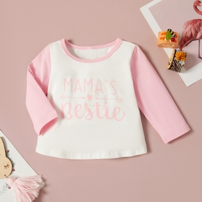 1pc Baby Girl Long-sleeve Cotton  casual Letter Tee