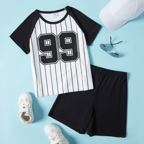 Number and Stripe Print Tee and Shorts Athleisure Set for Toddlers/Kids