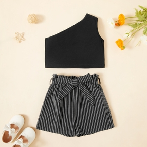 2-piece Toddler Girl One Shoulder Sleeveless Solid Top and Stripe Shorts with Belt Set