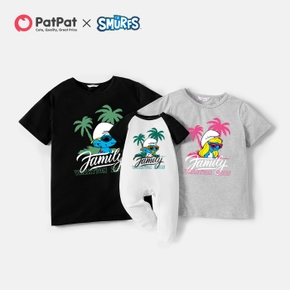 Smurfs Palm Print Summer Vacation Cotton Familly Matching Tees and Jumpsuit