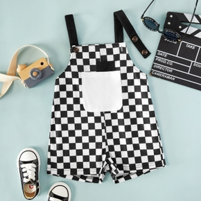 Toddler Girl/Boy Plaid Button Design Overalls with Pocket
