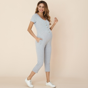 Maternity casual Plain Light Grey Jumpsuits