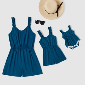 Solid Color Matching Blue Shorts Rompers