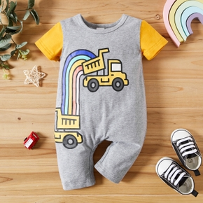 Truck and Rainbow Print Short-sleeve Baby Jumpsuit