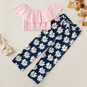 Kids Solid Ruffled Top and Floral Allover Pants Set