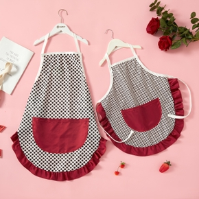 Wave Point Front Pocket Kitchen Aprons for Mommy and Me