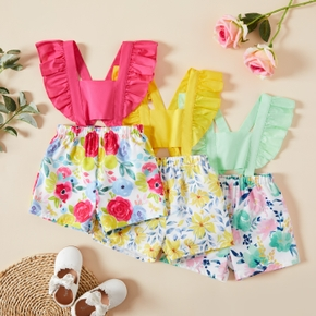 1pc Baby Girl  Floral Print Cotton&Polyester Summer More Festivals Pants Overalls