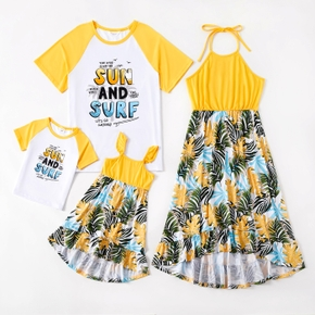 Mosaic Floral Letter Print Family Matching Yellow Sets
