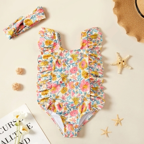 Toddler Girl Floral Ruffle Flounce Swimsuit