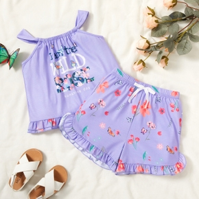 Trendy Toddler Girl Butterfly Floral Letter Print Tank And Shorts