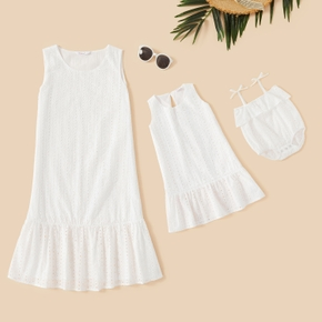 Mommy and Lace Flounce Decor Solid Tank Dresses