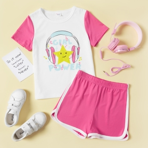 Star and Letter Print Tee and Shorts Athleisure Set for Toddlers/Kids