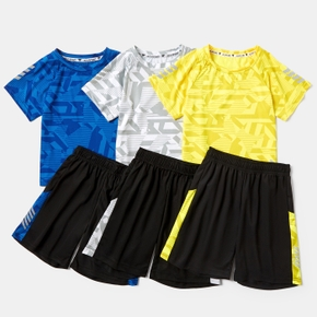 Color Block Short-sleeve Tee and Shorts Athletic Set for Toddlers / Kids