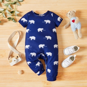 1pc Baby Boy Short-sleeve Polar Bear Letter Print Jumpsuit