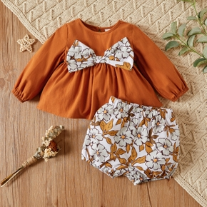 2-piece Baby Girl 100% Cotton Bowknot Decor Long-sleeve Top and Floral Print Shorts Set