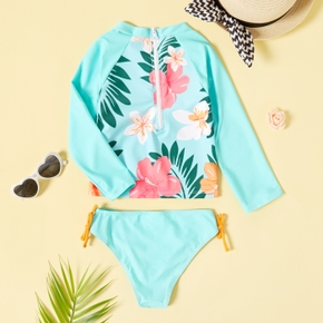 2-piece Toddler Girl Floral Long-sleeve and Briefs Swimsuit