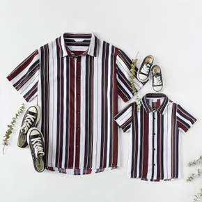 Stripe Print Front Buttons Short Sleeve Shirt for Daddy and Me