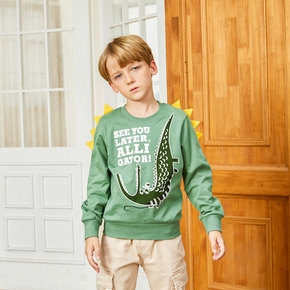 Crocodile And Letter Print Long-sleeve Sweatshirt