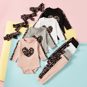 2pcs Baby Girl Sweet Leopard Baby's Sets Cotton Long Sleeve Romper Infant Clothing Outfits