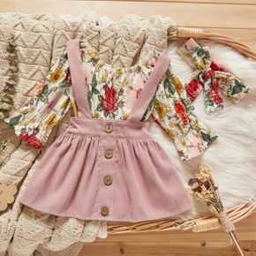 3pcs Floral and Solid Long-sleeve Baby Set