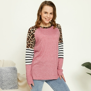 Round collar Color block long sleeve casual T-shirt
