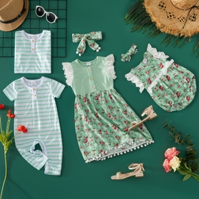 Floral and Stripe Siblings Matching Green and Blue Sets