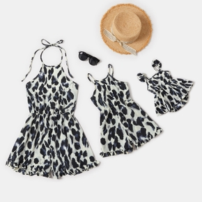 Leopard Print Matching Shorts Rompers