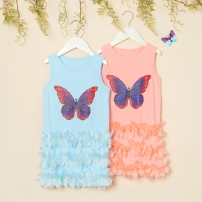 Toddler Girl Casual Butterfly Print Feather Dress