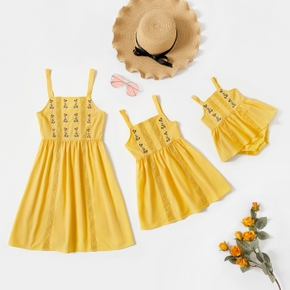 Floral Print Yellow Tank Dresses for Mommy and Me
