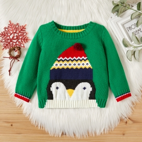 Baby Gril/Boy Cute Penguin Hat Print Sweater