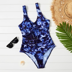 Pretty Tie dye Print casual one-piece swimwear