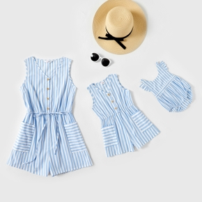 100% Cotton Blue and White Stripe Matching Tank Shorts Rompers