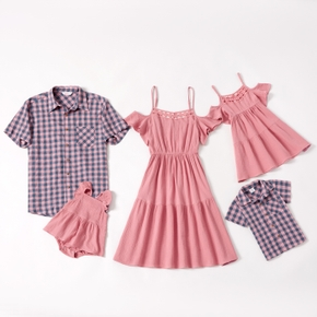 Mosaic 100% Cotton Solid and Plaid Family Matching Sets