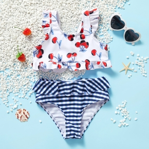 2-piece Toddler Girl Cherry Print Camisole and Striped Briefs Swimsuit